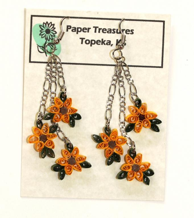 Sunflower paper earrings
