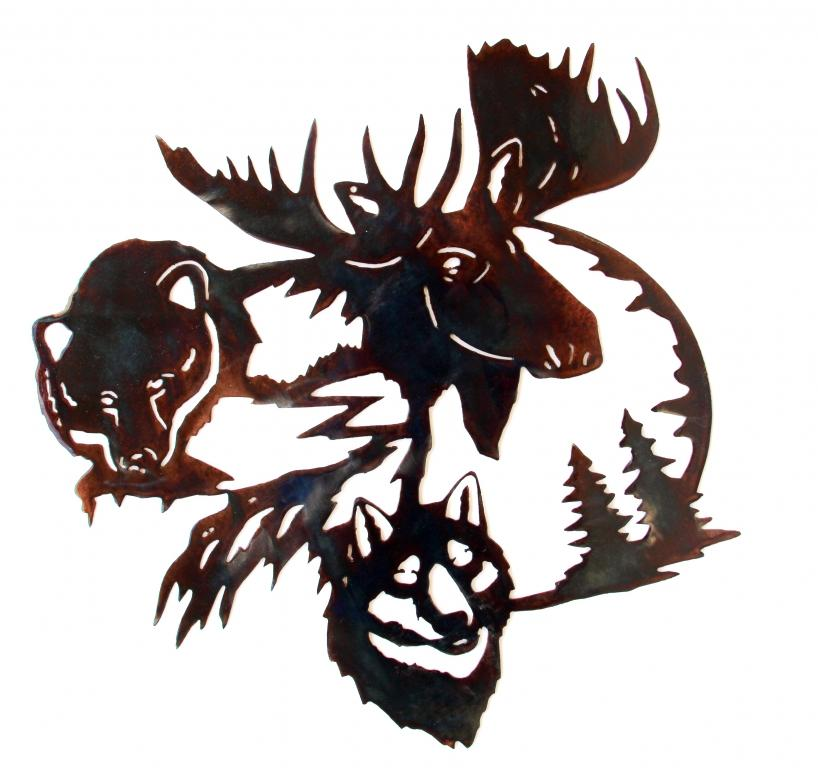 Moose Bear And Wolf Metal Art Wall Hanging By Gary Miller