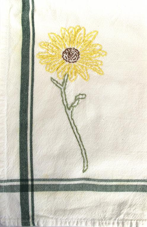Hand Embroidered Sunflower On Retro Green Line Tea Towel By Janet Hanson